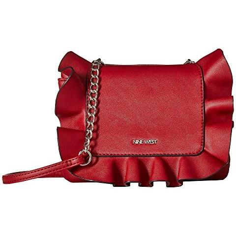 正红斜挎包,荷叶边设计,双仓收纳,俏皮喜庆